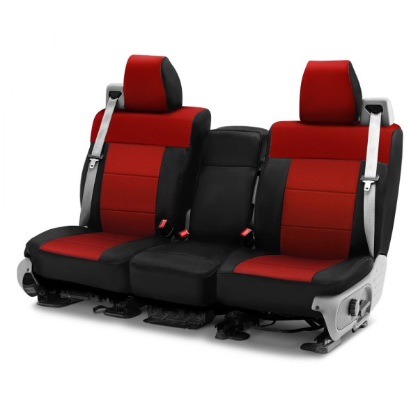 Image may not reflect your exact vehicle! Coverking® - CR-Grade Neoprene 1st Row Black & Red Custom Seat Cover