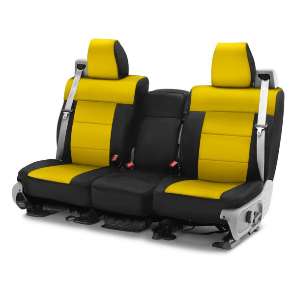 Image may not reflect your exact vehicle! Coverking® - CR-Grade Neoprene 2nd Row Black & Yellow Custom Seat Cover