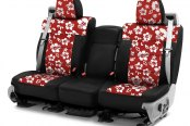 Image may not reflect your exact vehicle! Coverking® - CR-Grade Neoprene 1st Row Black & Hawaiian Red Custom Seat Cover