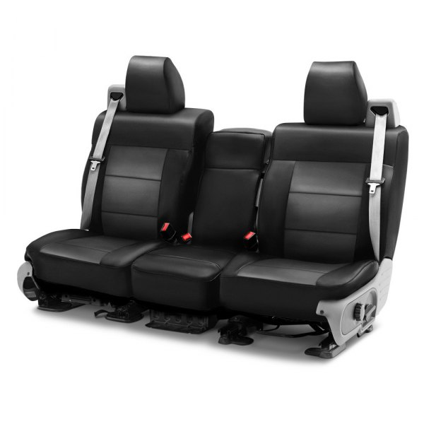 Coverking® - Leatherette 1st Row Black & Charcoal Custom Seat Cover