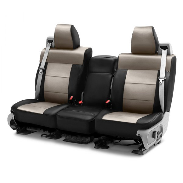 Image may not reflect your exact vehicle! Coverking® - Leatherette 1st Row Black & Taupe Custom Seat Cover