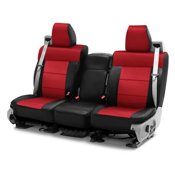 Image may not reflect your exact vehicle! Coverking® - Leatherette 1st Row Black & Red Custom Seat Cover