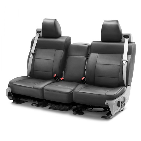Image may not reflect your exact vehicle! Coverking® - Leatherette 1st Row Medium Gray Custom Seat Cover