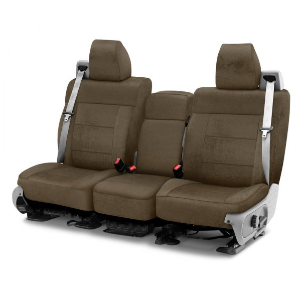 Image may not reflect your exact vehicle! Coverking® - Velour 1st Row Taupe Custom Seat Cover