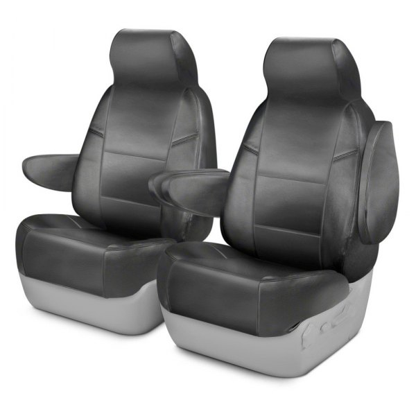Image may not reflect your exact vehicle! Coverking® - Genuine Leather 1st Row Gray Custom Seat Cover