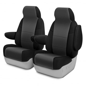 Coverking® - Neosupreme 1st Row Black & Gray Custom Seat Covers