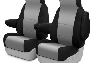 Image may not reflect your exact vehicle! Coverking® - Neosupreme 1st Row Black & Charcoal Custom Seat Cover