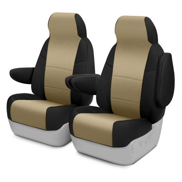 Image may not reflect your exact vehicle! Coverking® - Neosupreme 1st Row Black & Blue Custom Seat Cover