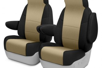 Image may not reflect your exact vehicle! Coverking® - Neosupreme 1st Row Black & Tan Custom Seat Cover