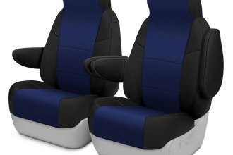 Coverking® - Neosupreme 1st Row Black & Navy Blue Custom Seat Cover