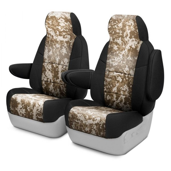 Coverking® - Digital 1st Row Two-Tone Sand Custom Seat Covers
