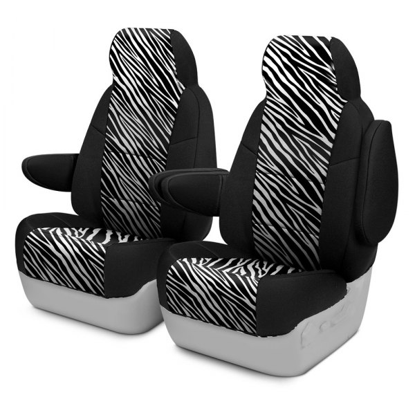 Coverking® - Neosupreme 1st Row Black & Zebra Custom Seat Cover