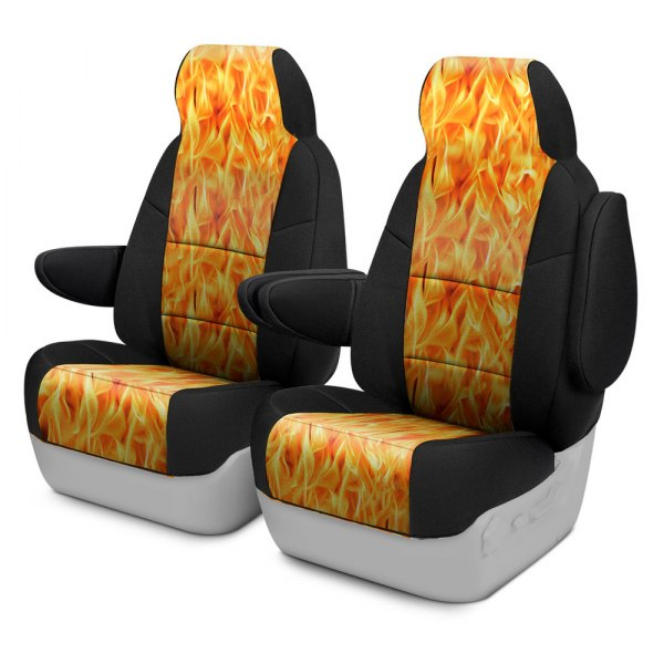 Coverking® - Neosupreme 1st Row Black & Flame Custom Seat Cover