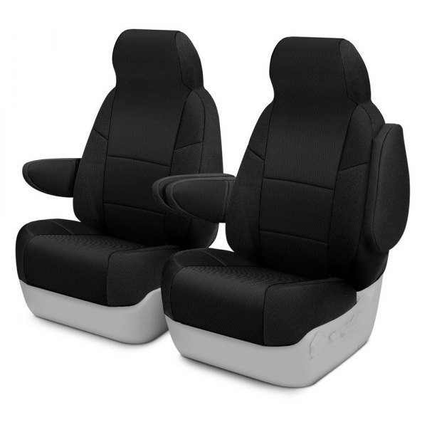 Image may not reflect your exact vehicle! Coverking® - Spacer Mesh 1st Row Black Custom Seat Cover