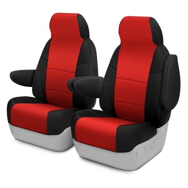 Image may not reflect your exact vehicle! Coverking® - Spacer Mesh 1st Row Black & Red Custom Seat Cover