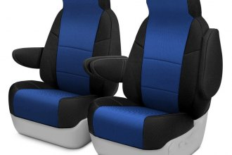Image may not reflect your exact vehicle! Coverking® - Spacer Mesh 1st Row Black & Blue Custom Seat Cover