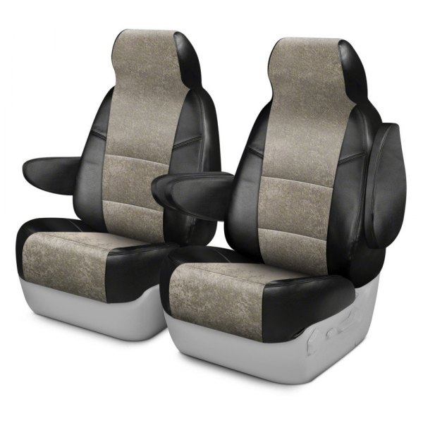 Coverking® - Alcantara 1st Row Black & Beige Custom Seat Cover