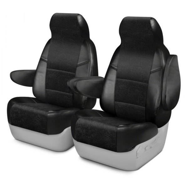 Coverking® - Alcantara 1st Row Black Custom Seat Cover