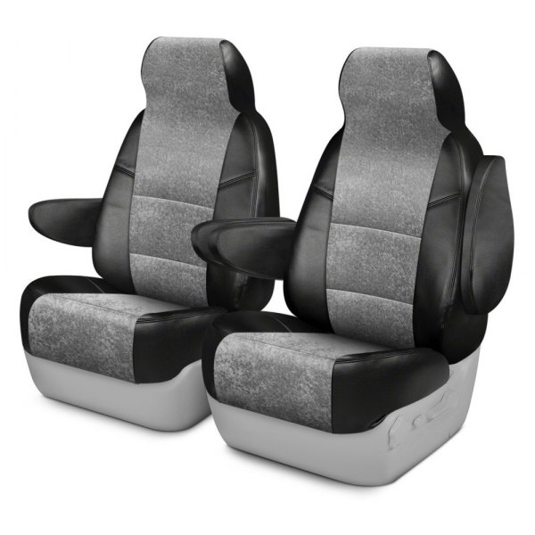 Coverking® - Alcantara 2nd Row Black & Gray Custom Seat Cover