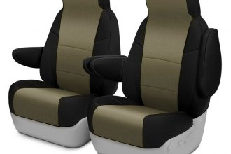 Image may not reflect your exact vehicle! Coverking® - CR-Grade Neoprene 1st Row Black & Tan Custom Seat Cover
