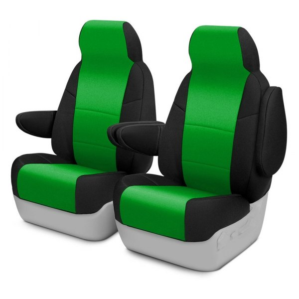 Image may not reflect your exact vehicle! Coverking® - CR-Grade Neoprene 1st Row Black & Synergy Green Custom Seat Cover