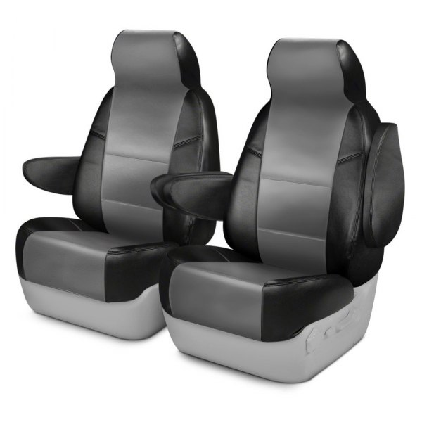 Coverking® - Leatherette 1st Row Black & Light Gray Custom Seat Cover