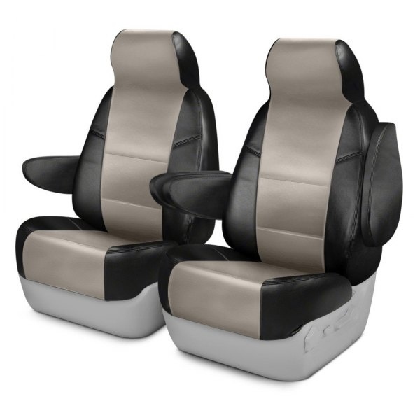 Coverking® - Premium Leatherette 1st Row Black & Cashmere Custom Seat Cover