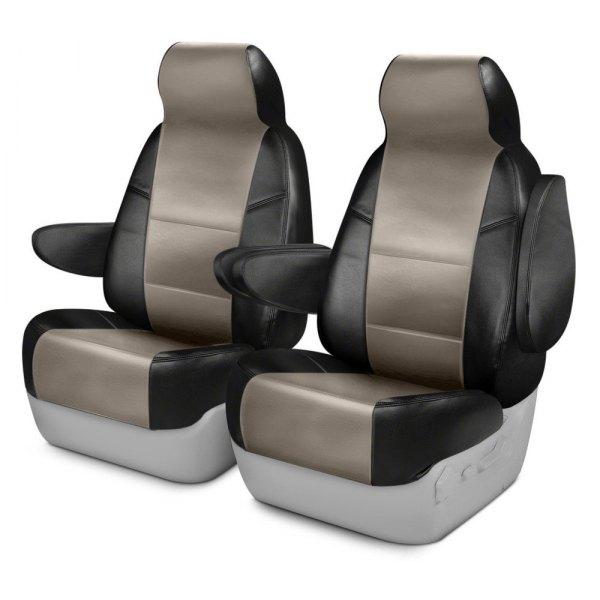 Coverking® - Premium Leatherette 1st Row Black & Taupe Custom Seat Cover