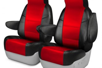 Coverking® - Premium Leatherette 1st Row Black & Red Custom Seat Cover