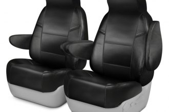 Coverking® - Premium Leatherette 1st Row Black Custom Seat Cover