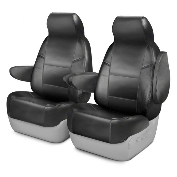 Coverking® - Premium Leatherette 1st Row Charcoal Custom Seat Cover