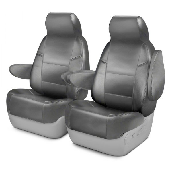 Coverking® - Premium Leatherette 1st Row Light Gray Custom Seat Cover