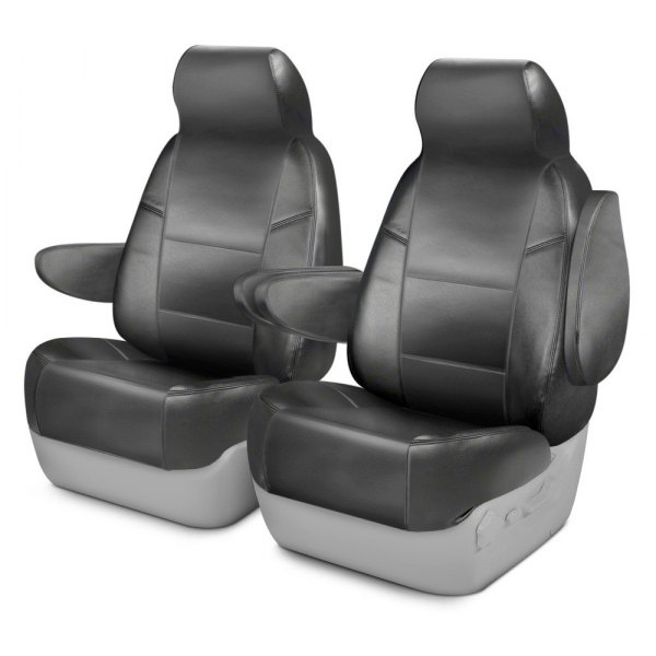 Coverking® - Premium Leatherette 1st Row Medium Gray Custom Seat Cover