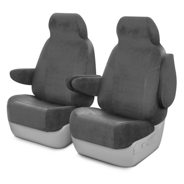 Image may not reflect your exact vehicle! Coverking® - Velour 1st Row Gray Custom Seat Cover