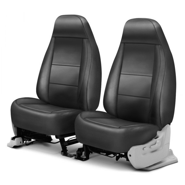 Coverking® - Genuine Leather 1st Row Gray Custom Seat Cover