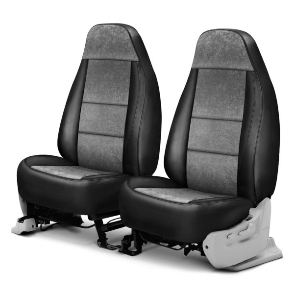 Coverking® - Alcantara 1st Row Black & Gray Custom Seat Cover