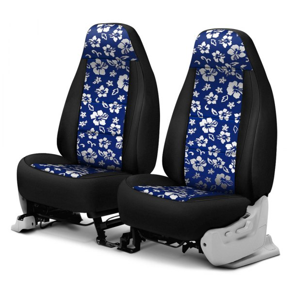 Coverking® - CR-Grade Neoprene 1st Row Black & Hawaiian Blue Custom Seat Cover