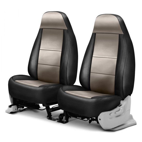 Coverking® - Leatherette 1st Row Black & Taupe Custom Seat Cover