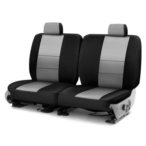 Image may not reflect your exact vehicle! Coverking® - Neosupreme 3rd Row Black & Charcoal Custom Seat Cover