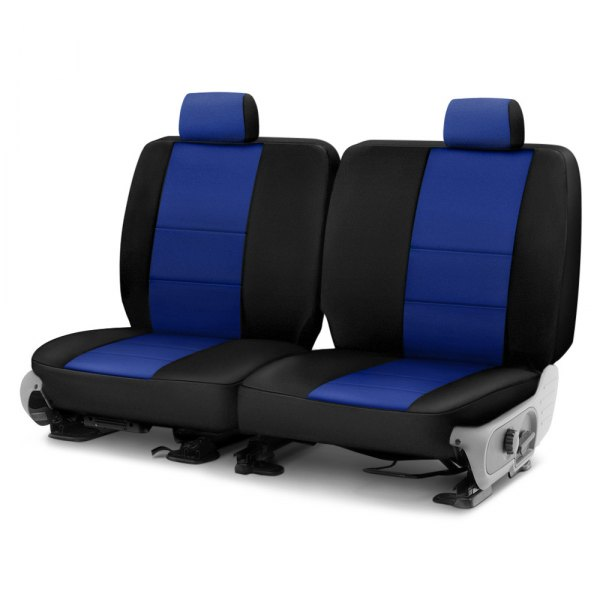 Image may not reflect your exact vehicle! Coverking® - Neosupreme 3rd Row Black & Blue Custom Seat Cover