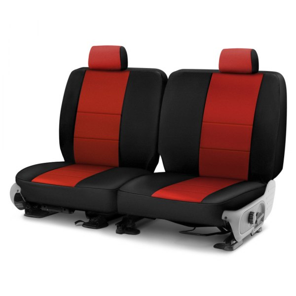 Image may not reflect your exact vehicle! Coverking® - Neosupreme 2nd Row Black & Red Custom Seat Cover