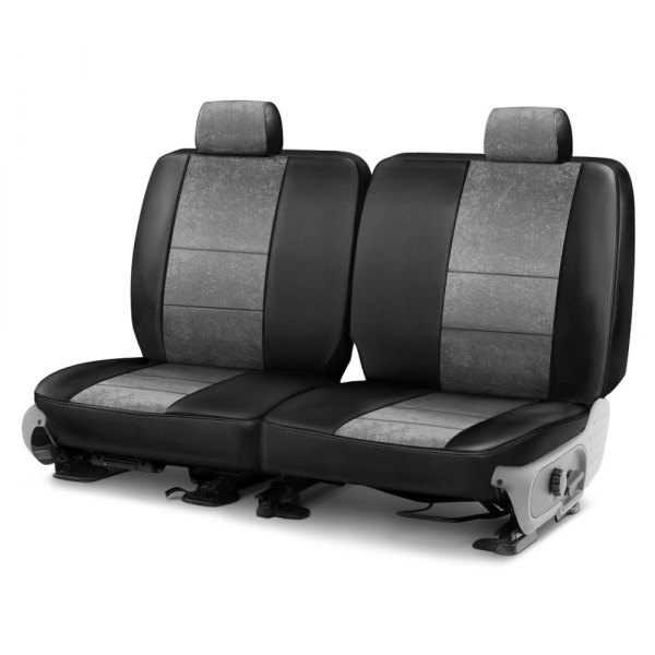 Image may not reflect your exact vehicle! Coverking® - Alcantara 1st Row Black & Gray Custom Seat Cover