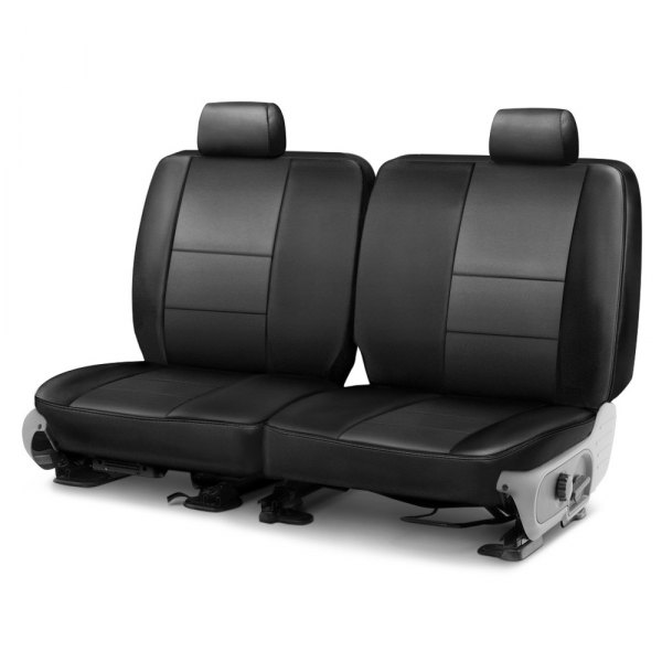 Image may not reflect your exact vehicle! Coverking® - Leatherette 2nd Row Black & Charcoal Custom Seat Cover