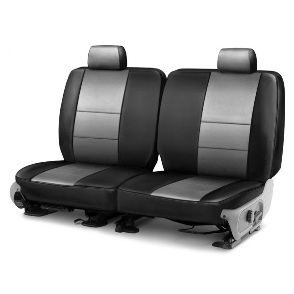 Coverking® - Leatherette 3rd Row Black & Light Gray Custom Seat Cover