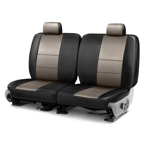 Coverking® - Leatherette 2nd Row Black & Taupe Custom Seat Cover