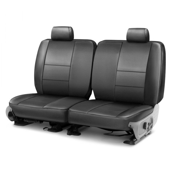 Image may not reflect your exact vehicle! Coverking® - Leatherette 2nd Row Medium Gray Custom Seat Cover