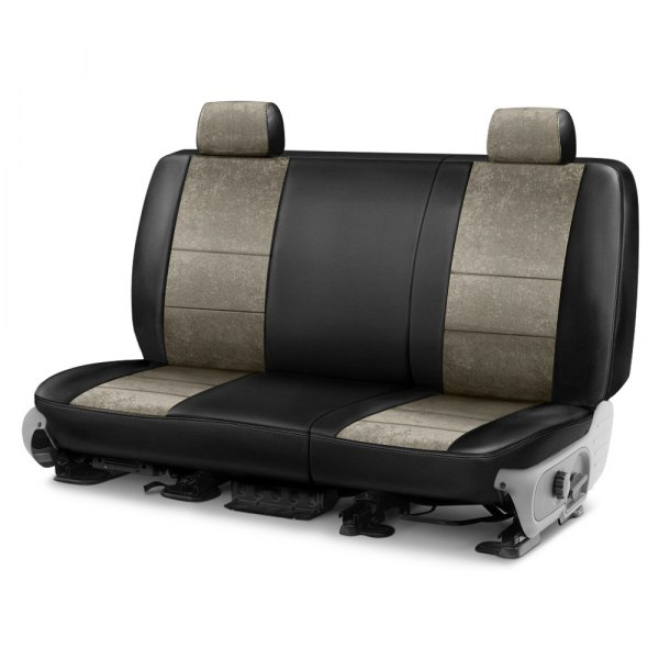 Coverking® - Alcantara 2nd Row Black & Beige Custom Seat Cover