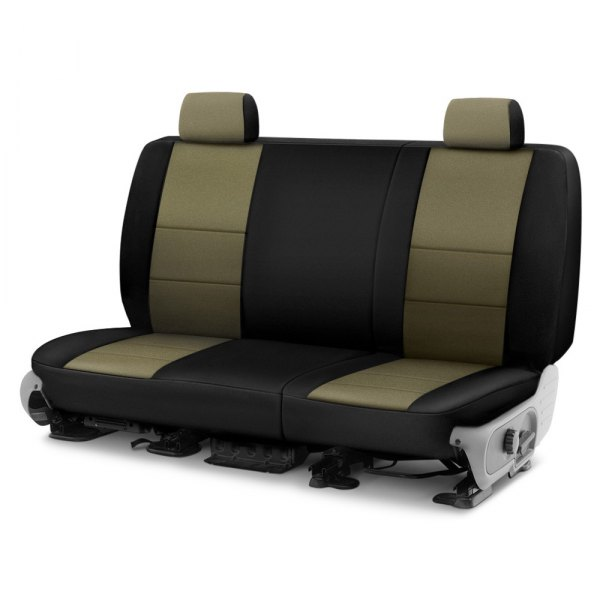 Image may not reflect your exact vehicle! Coverking® - CR-Grade Neoprene 2nd Row Black & Tan Custom Seat Cover