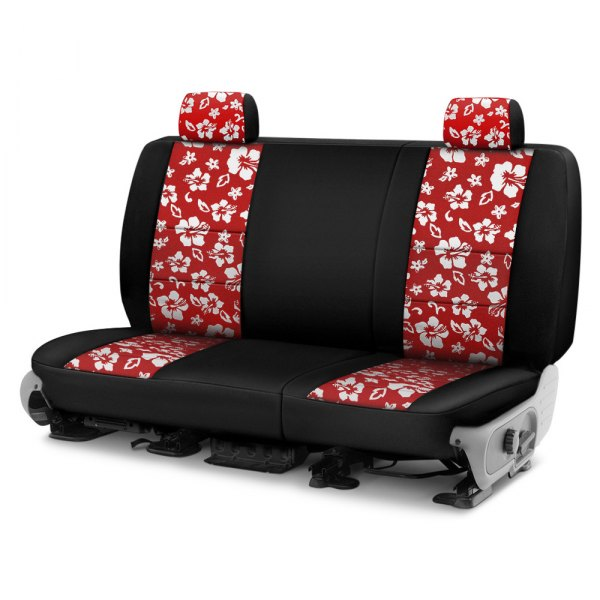 Image may not reflect your exact vehicle! Coverking® - CR-Grade Neoprene 2nd Row Black & Hawaiian Red Custom Seat Cover
