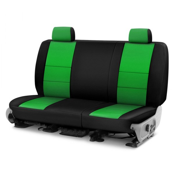 Image may not reflect your exact vehicle! Coverking® - CR-Grade Neoprene 2nd Row Black & Synergy Green Custom Seat Cover
